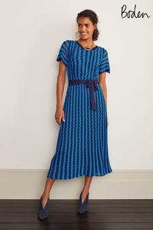 Boden Blue Rowan Pointelle Knitted Dress