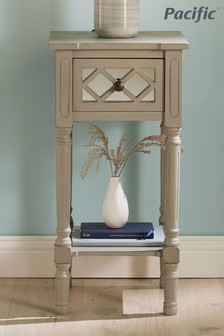Pacific Lifestyle Dove Grey Mirrored Pine Wood Accent Table