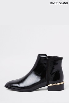 River Island Black Pearly Heel Boots