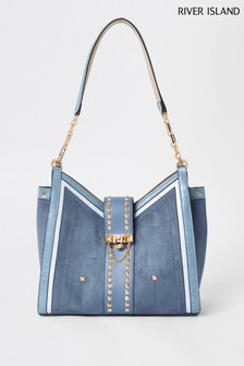 River Island Blue V Front Slough Bag