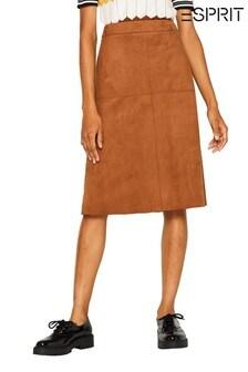 Esprit Brown Faux Suede Midi Skirt