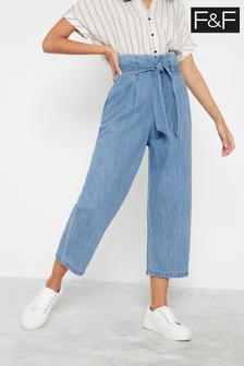 F&F Blue Chambray Multistitch Self Belt Trousers