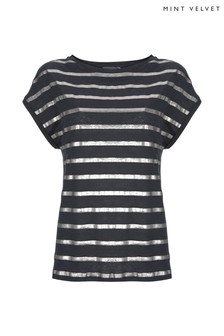 Mint Velvet Foiled Linen Stripe Neck T-Shirt