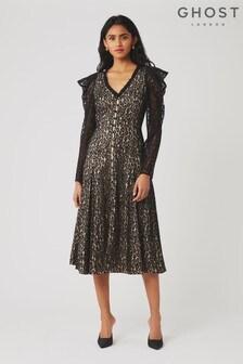 Ghost London Black Esme Lace Dress