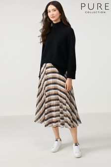 Pure Collection Camel Pleat Midi Skirt