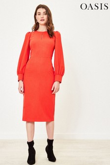Oasis Orange Crew Neck Shift Dress
