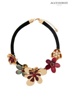 Accessorize Red Statement Flower Necklace