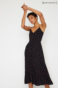 Warehouse Black Polka Dot Cami Midi Dress