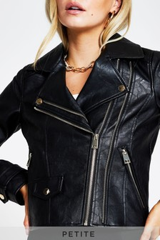 River Island Petite Black Double Zip Biker Jacket