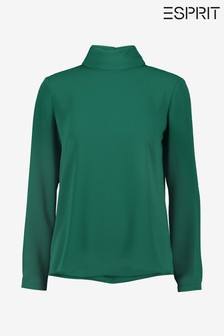 Esprit Long Sleeved Woven Blouse With Roll Neck
