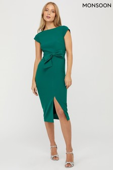 Monsoon Ladies Green Tilda Bow Shift Dress