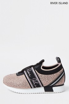 River Island Pink Bright Cone Strap Slip-On Shoes