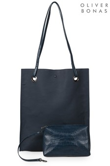Oliver Bonas Blue Tall Croc Panel Tote Bag