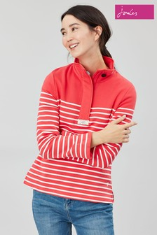 Joules Red Saunton Casual Half Zip Sweatshirt