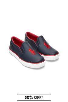 Ralph Lauren Kids Boys Navy Slip On Trainers