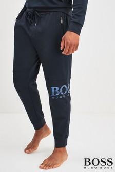 BOSS Blue Tracksuit Shiny Print Logo Joggers