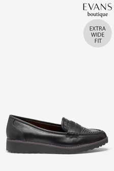 Evans Extra Wide Fit Black Studded Loafers