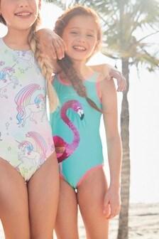 Flip Sequin Flamingo Swimsuit (3-16yrs)