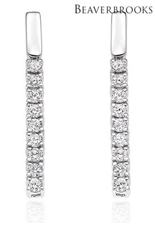 Beaverbrooks 9ct Diamond Bar Earrings