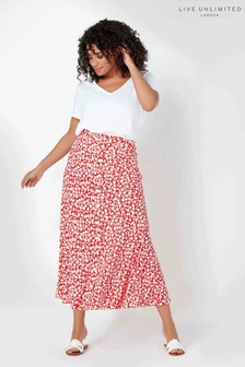 Live Unlimited Red Ditsy Button Through Skirt