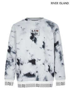 River Island White Marble Sweat Top