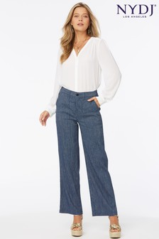 NYDJ Wide Leg High Rise Ankle Trousers In Stretch Linen Blend