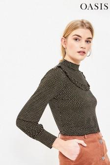 חולצת סינר עם נקודות בשחור של Oasis