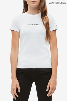 Calvin Klein White Jeans Ribbed Branded T-Shirt