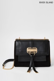 River Island Black Medium Lock Flapover Bag