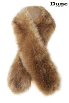 Dune London Lolaa Camel Faux Fur Slim Scarf