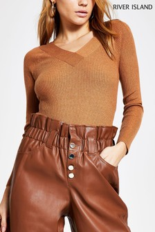River Island Brown V Front V Back Top