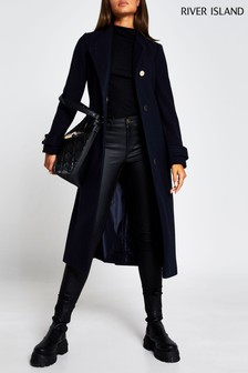 River Island Navy City Wrap Coat
