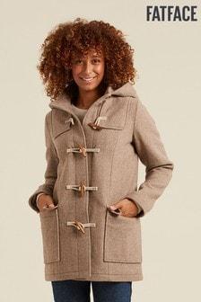 FatFace Brown Wool Rich Duffle Coat