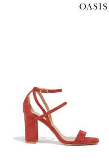 Oasis Orange Strappy Heeled Sandals