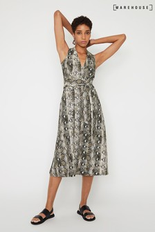 Warehouse Grey Snake Tie Waist Midi Dress