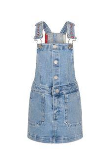 Tommy Hilfiger Girls Blue Cotton Dungaree Dress
