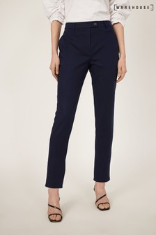 Warehouse Blue Compact Cotton Trousers