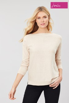 Joules Cream Bess Jumper With Side Seam Rib