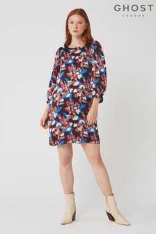 Ghost London Blue Melody Raya Floral Print Dress