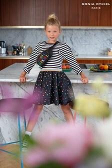 Sonia Rykiel Black Heart Multicoloured Skater Skirt