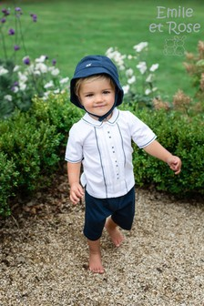 Emile et Rose Blue Smart Top And Shorts With Hat