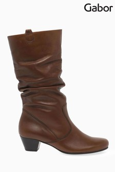 Gabor Brown Rachel Medium Calf Fit Leather Mid Leg Boots