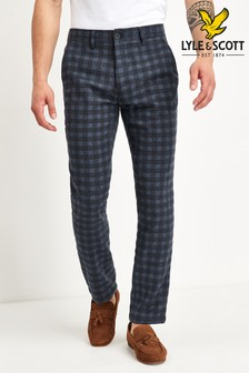 Lyle & Scott Navy Tartan Trousers