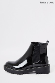 River Island Black Chunky Gusset Boots