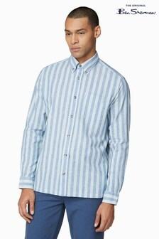Ben Sherman® Green Long Sleeve Linen Mix Candy Stripe Shirt