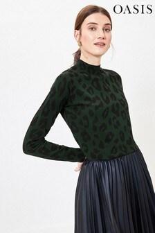 Oasis Green Leopard Mock Neck Jumper