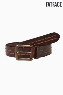 FatFace Brown Double Stitch Row Leather Belt