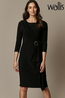 Wallis Black Ring Ruched Side Dress