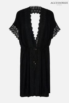 Accessorize Black Lace Trim Kimono
