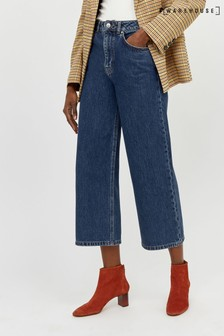 Warehouse Mid Wash Wide Cut Cropped Jean